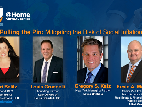 Shari Moderates Panel on Social Inflation at Advisen's Claims Conference on September 16, 2020