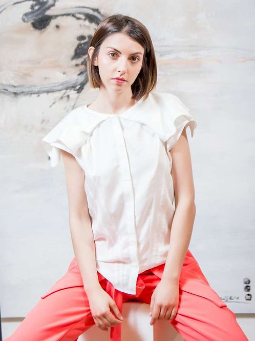 Ana Vasiljevic - Blusa volumen ombros blanca