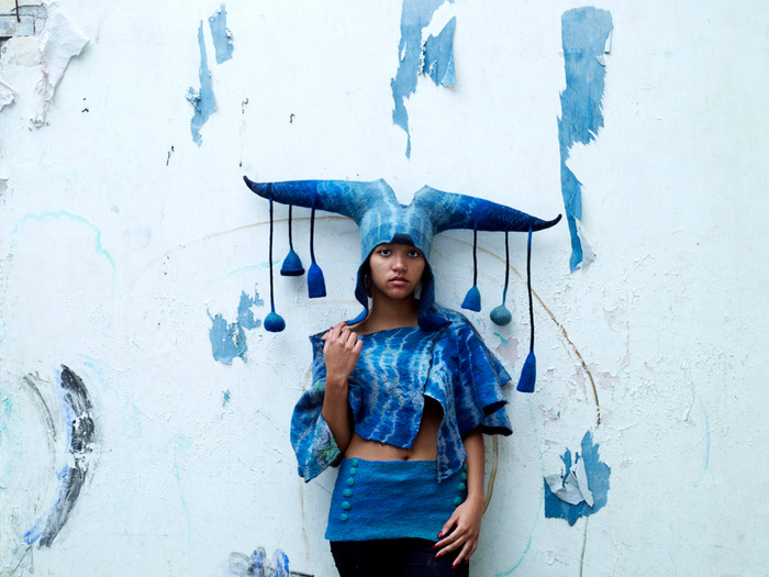 Blue headdress and garments by Gladys Paulus, made under guidance of Judit Pocs