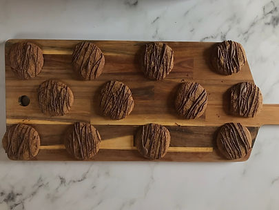 Chocolate Ginger Biscuits ready for packaging up.