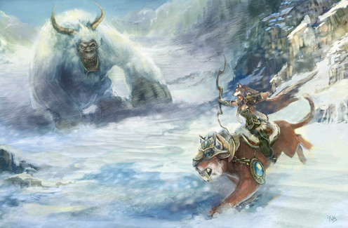 Yeti and Huntress by Angeline Roussel
