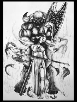 Minotaur and Sorceress