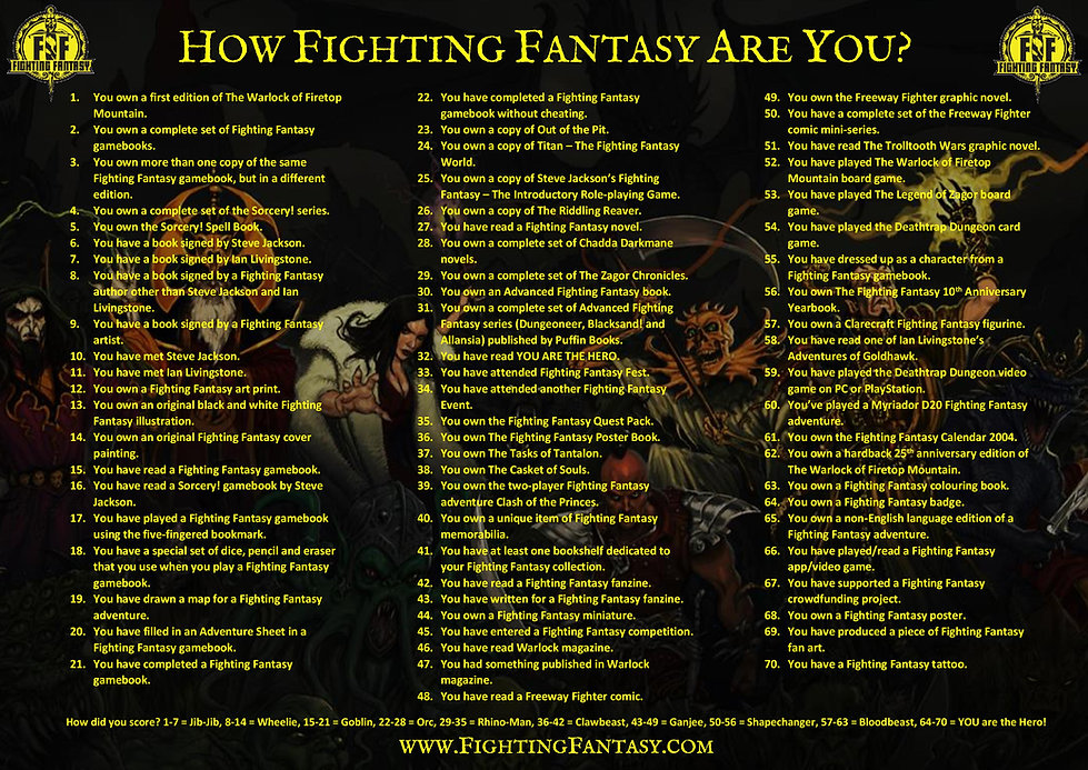 How Fighting Fantasy Are You image easie