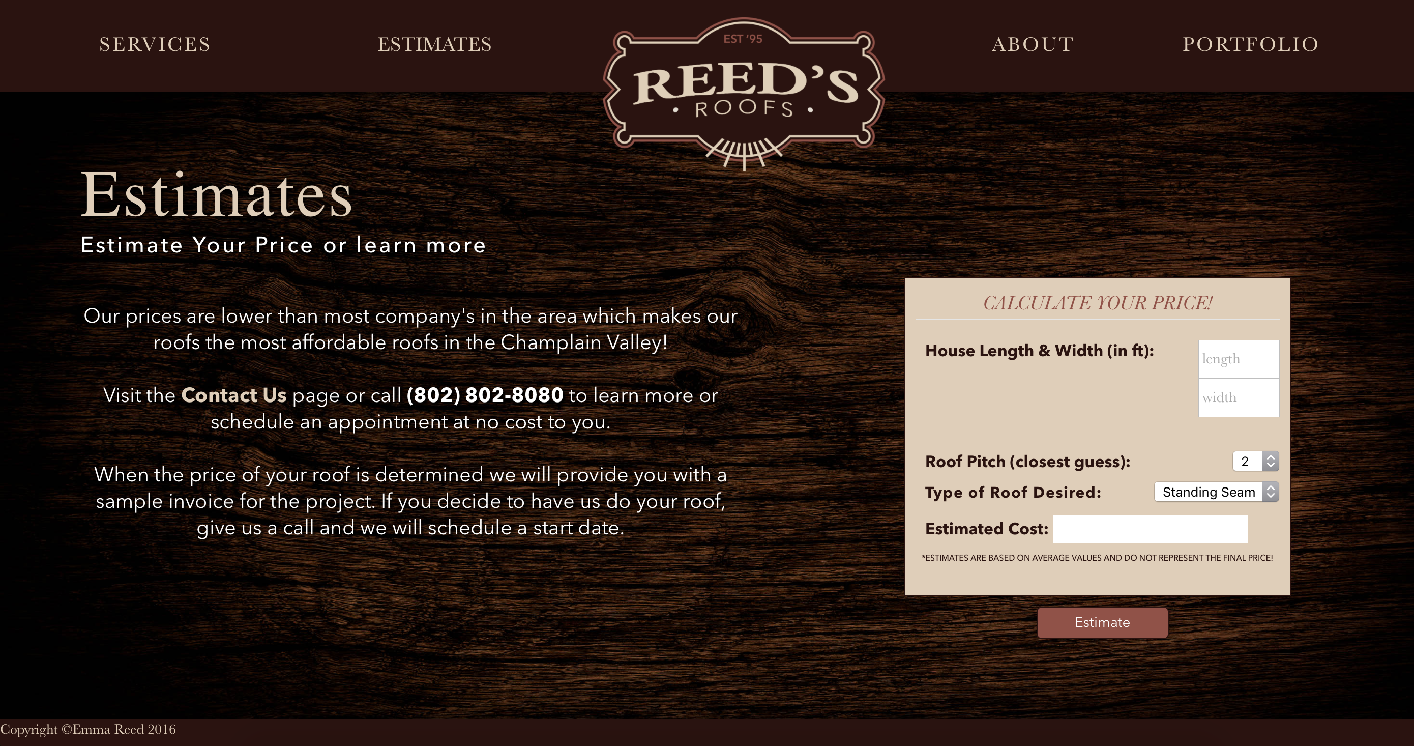 Reed's Roofs Estimates