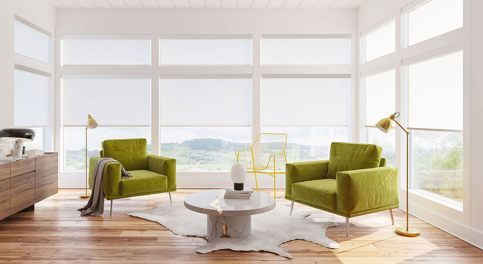 Automated roller shades, sheerweave fabr
