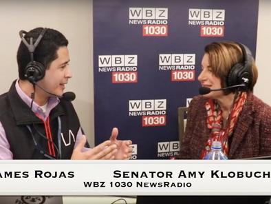 Senator and Democratic candidate Amy Klobuchar sits down to talk on primary day in Manchester, NH.