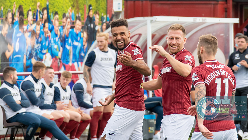 Nathan Austin celebrates the only goal of th game