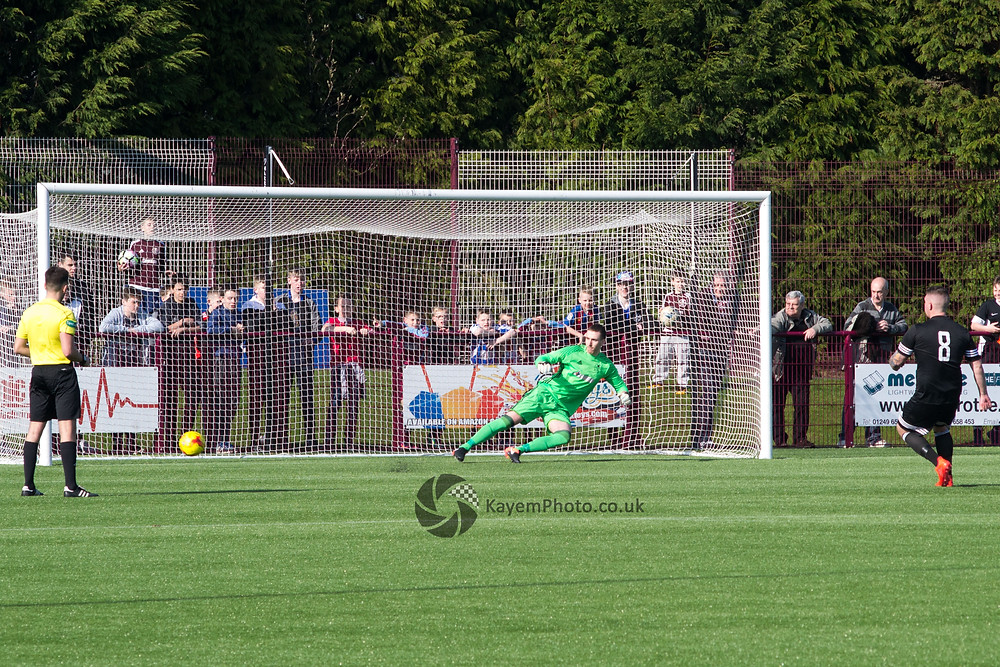Reid's penalty hit the post to send Kelty through