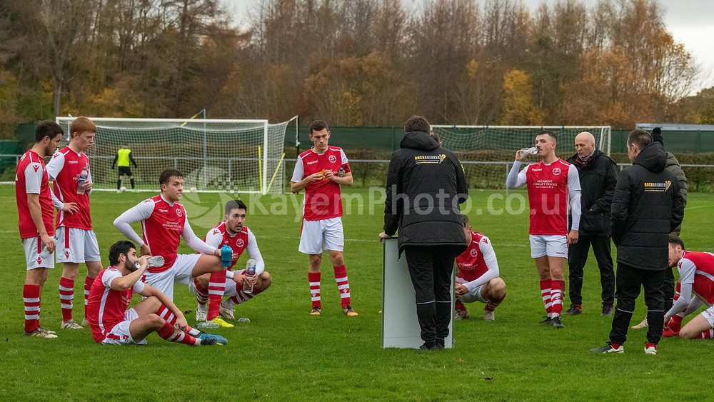 Broxburn's half-time team talk