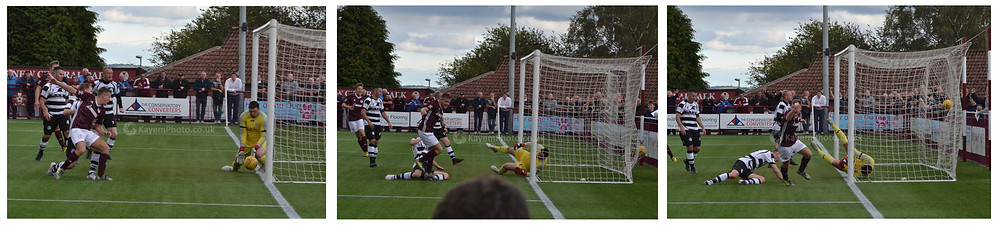 Stuart Cargill with the decisive goal for Kelty
