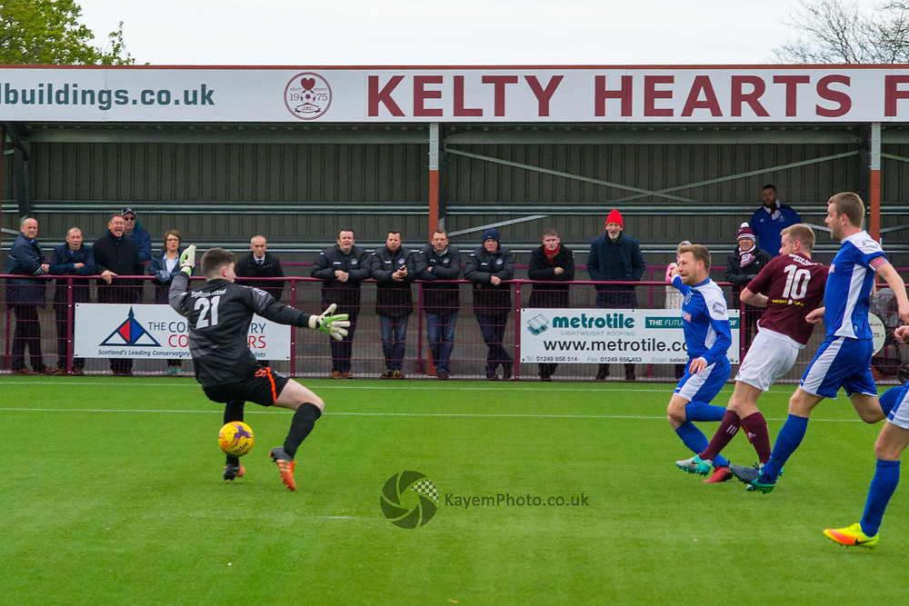 Stuart Cargill scores his 100th goal for Kelty