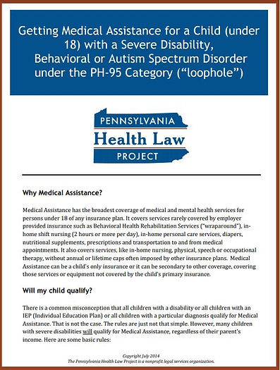 PH95 insurance information from the PA Health Law Project