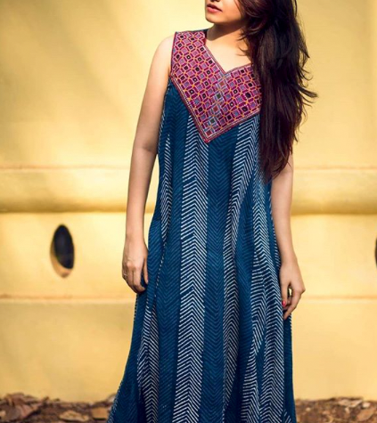 Naturally dyed dress with indigo and embroidery