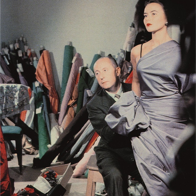 Christian Dior with model Sylvie, circa 1948. Courtesy of Christian Dior.