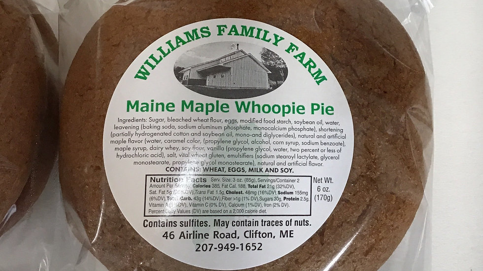 Maple Whoopie Pie Net wt. 6 oz.