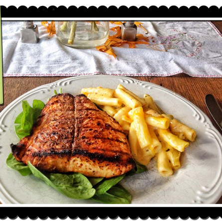 Basil Cheddar Mac & Salmon