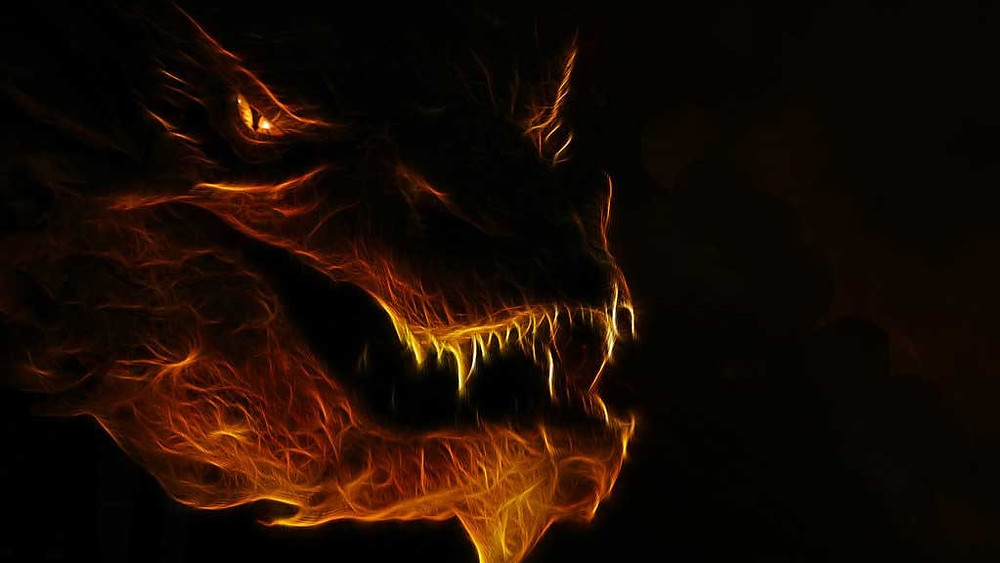 A Fiery, Flaming Dragons Head, The Great Dragon of Revelation 12