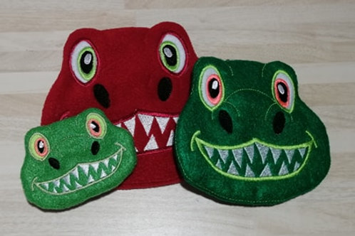 ITH Dinosaur Face Zip Bag