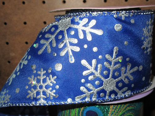 BLUE/SILVER SNOWFLAKES BOW