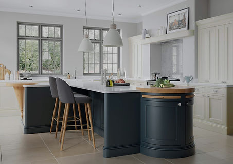 Belgravia Dark Blue and Porcelain kitchen