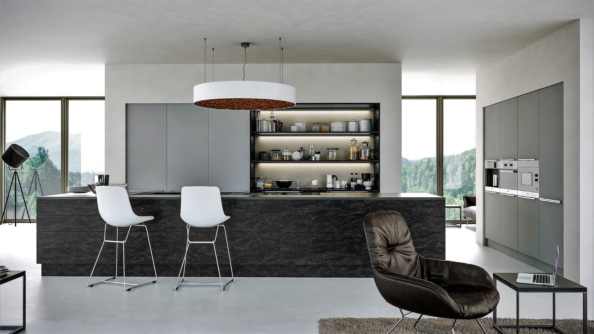 Matt Light Grey and Anthracite Stone Kitchen
