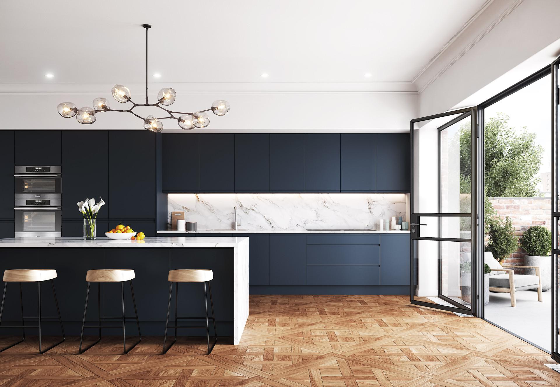 Indigo Blue Kitchen.