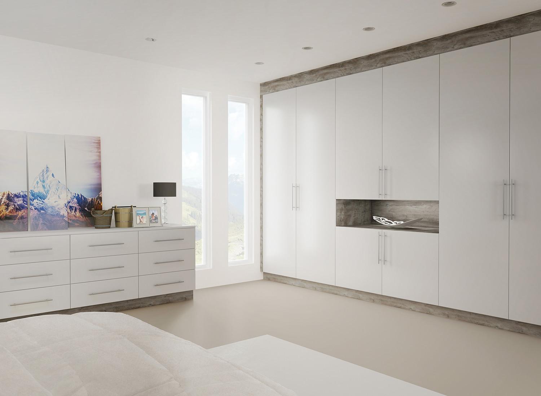 Super matt light grey bedroom