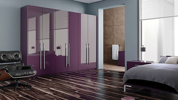 High gloss aubergine bedroom
