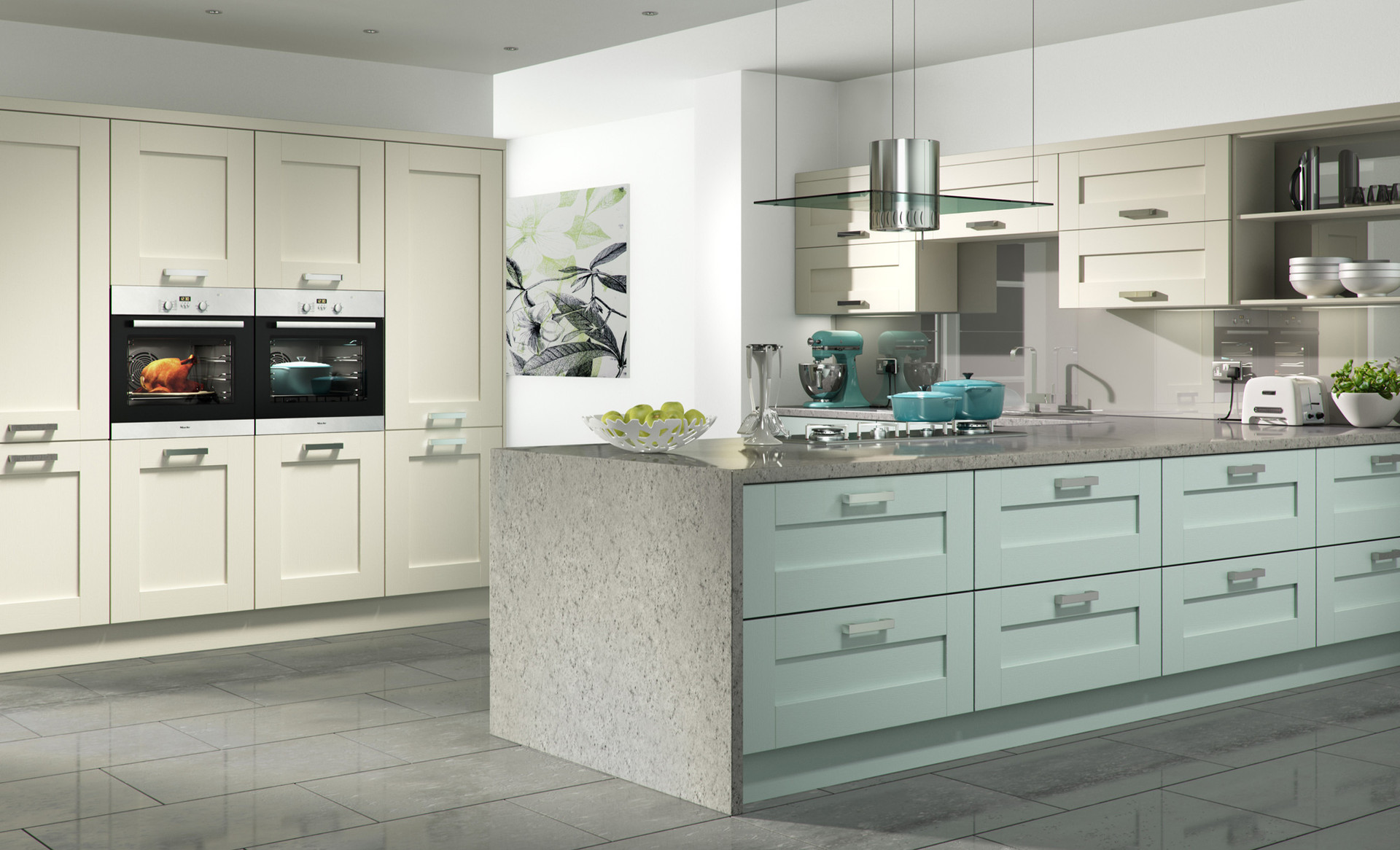 Windsor shaker Ivory and Light Blue kitchen