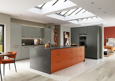 Zola Matte Orange Dust Grey and Graphite kitchen