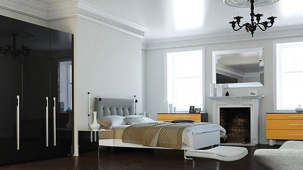 Gloss black bedroom