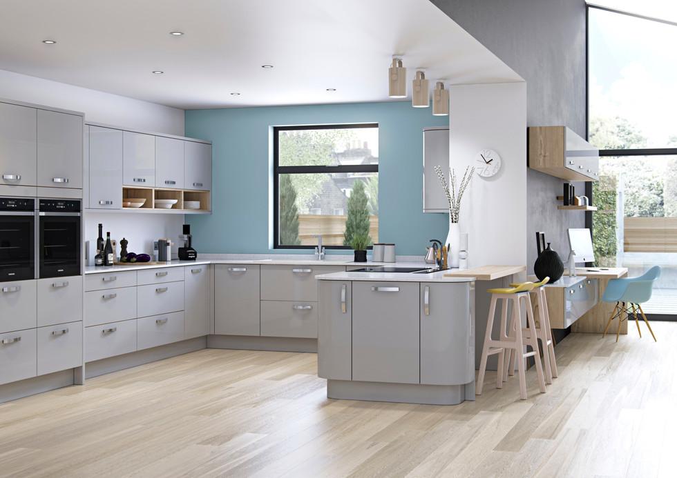 Zola gloss light grey kitchen