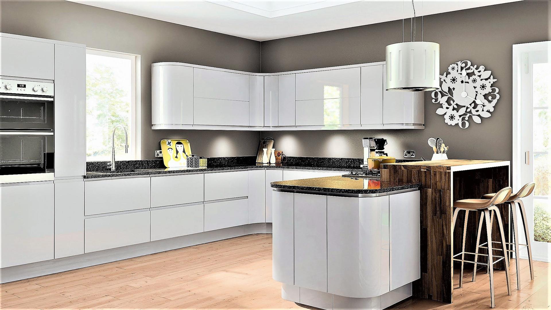 Gloss Light Grey Kitchen