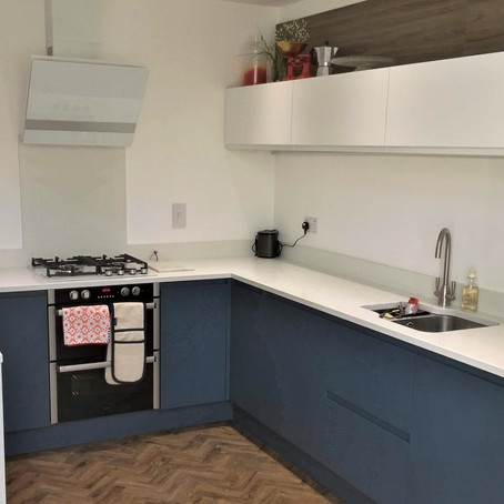 Painted J groove kitchen project in Bare, Morecambe.