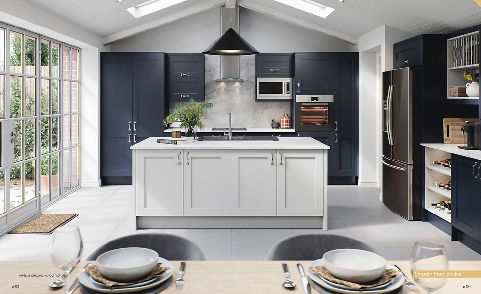 Oxford light grey and indigo blue kitche
