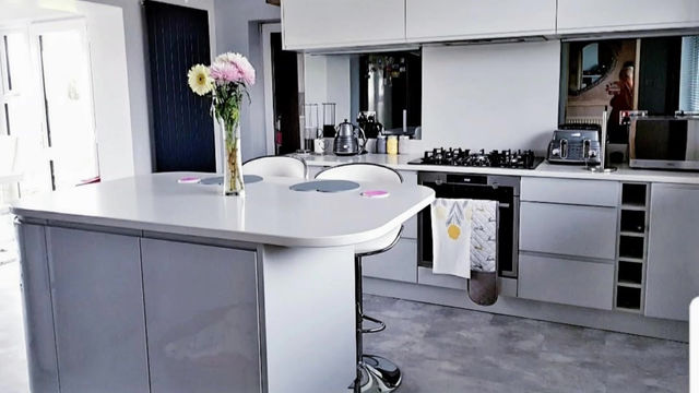 Fitted kitchen - White and Light Grey Gloss with Glaciem Worktops