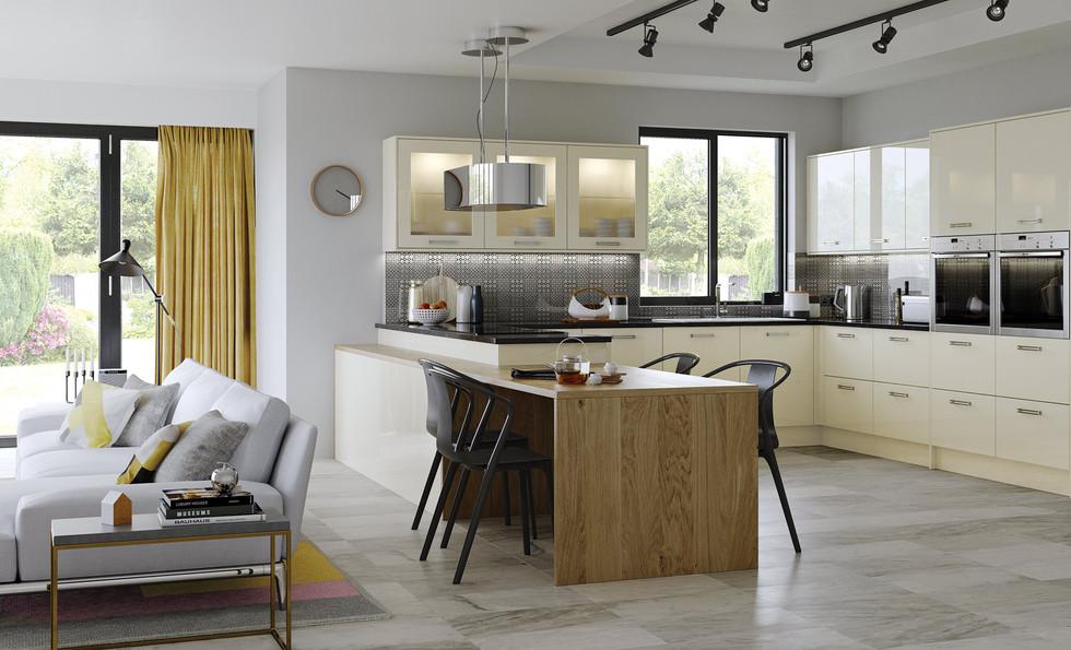 Zola gloss alabaster kitchen
