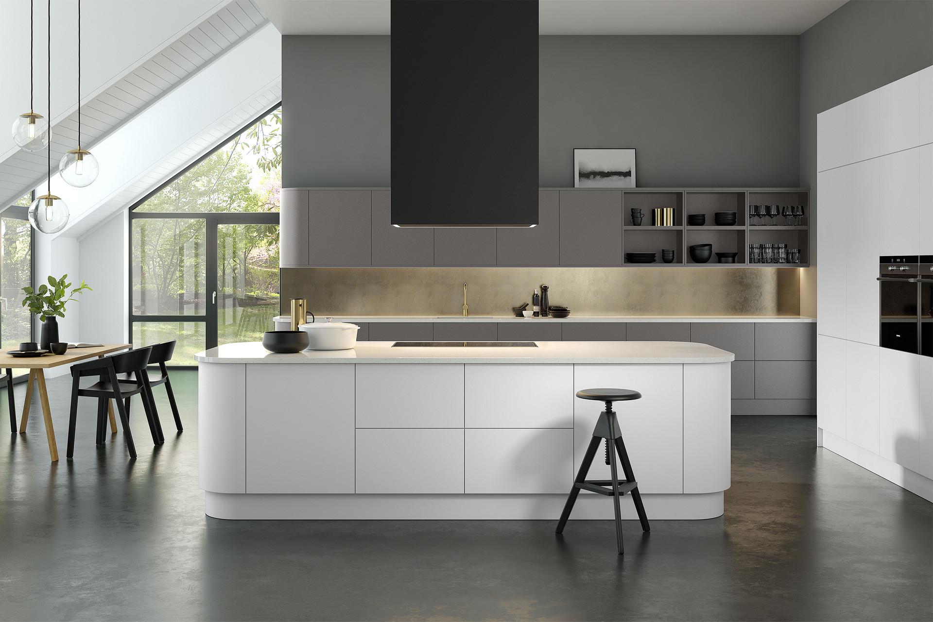 Matt White & Dark Grey Kitchen