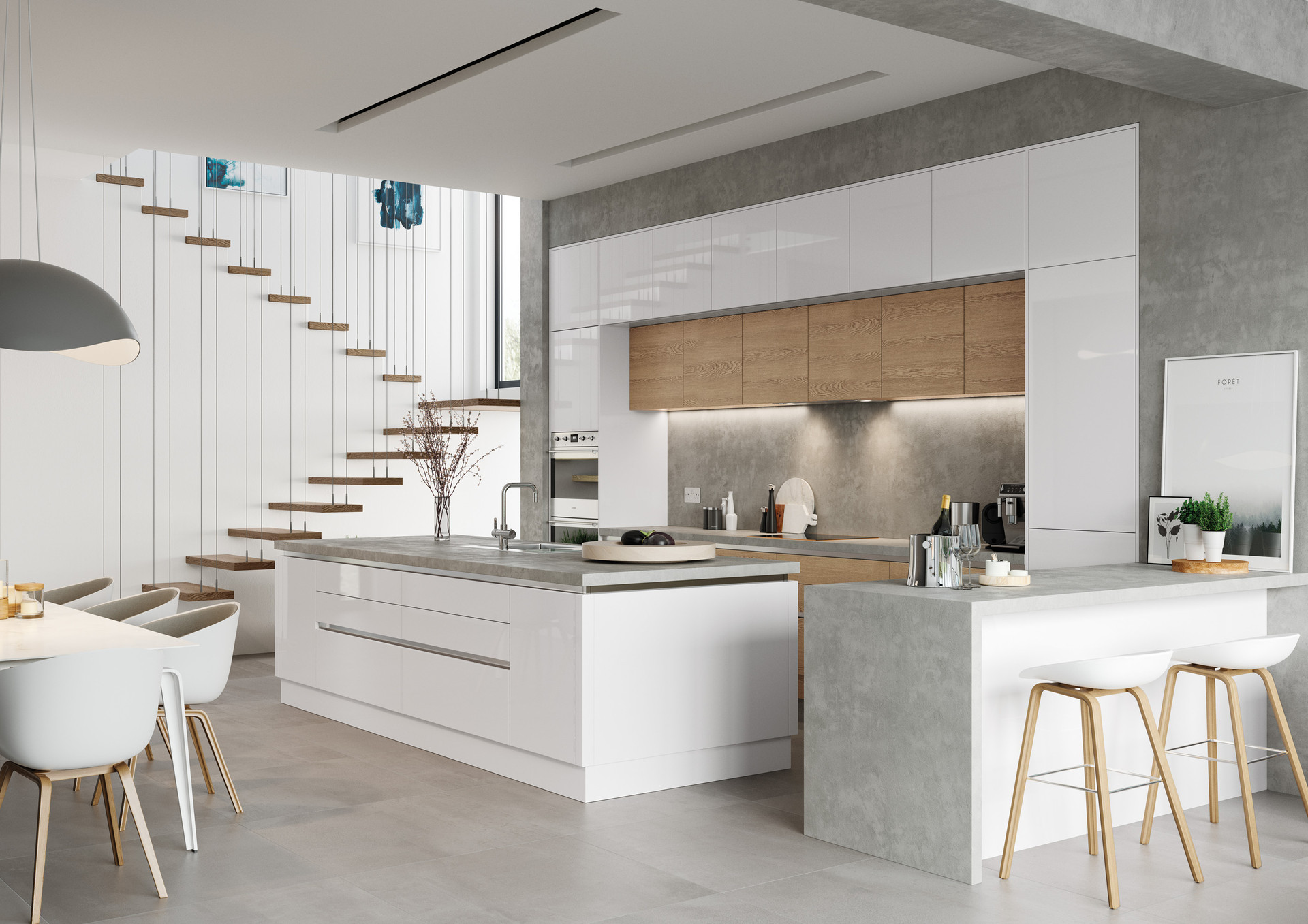 White Gloss  and Parched Oak Kitchen