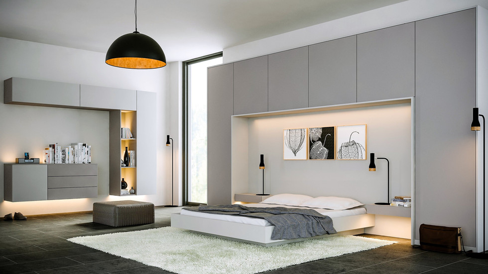 Supermatt dust and light grey bedroom