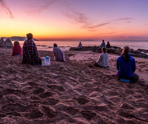 Morning meditation on the beach in Corfu Island