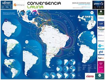 Mapa de Carriers: refleja los cables submarinos actuales y futuros en América latina, tanto de consorcios como privados e incluye un detalle de PITs en la región y el tipo de actores que los componen.