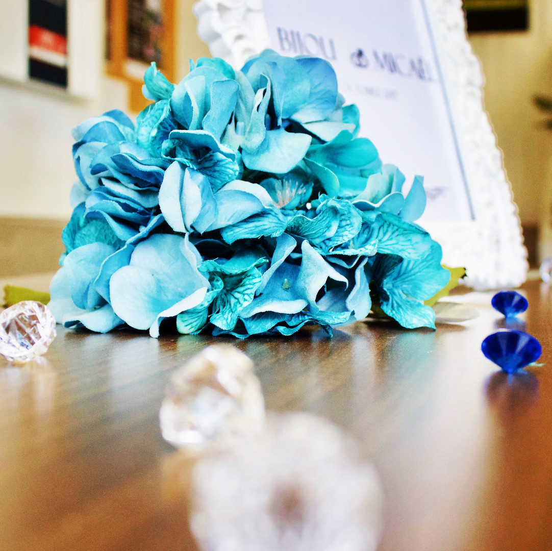 Blue hydrangea and beads