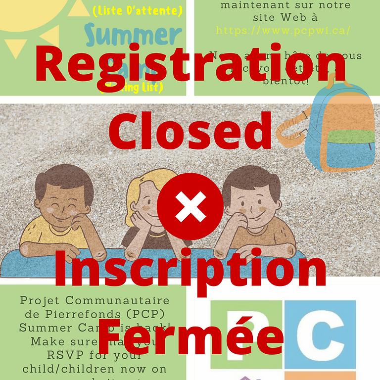 PCP Summer Camp (Waiting List) / Camp d'été PCP (Liste d'attente)