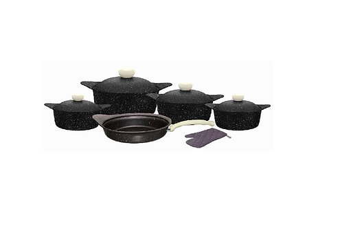 Granite set 11 PCS Black طقم جرانيت 11 قطعه بغطاء جرانيت, اسود