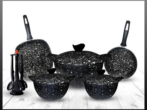 Granite - discovery Cooking Set - 8 Pcs - Black  طقم حلل جرانيت ديسكفري