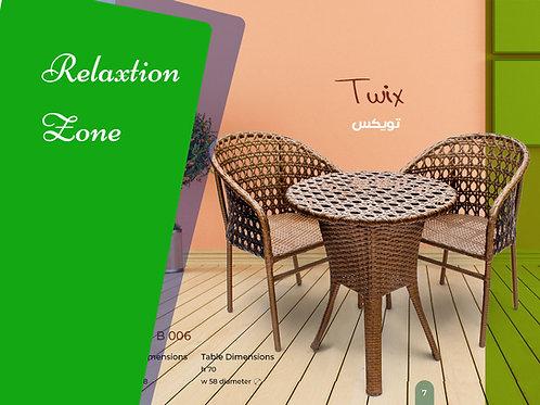 Rattan set 2 chairs + table طقم رتان 2 كرسي + ترابيزة