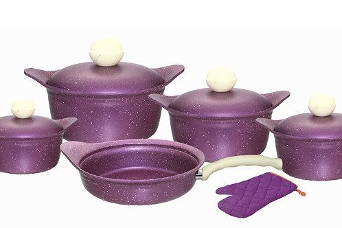 Granite set 11 PCS Purple طقم جرانيت 11 قطعه بغطاء جرانيت, موف