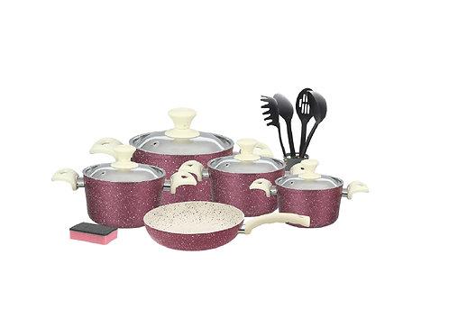 Granite Cookware Set - 15Pcs - Purple - طقم حلل جرانيت بغطاء استانليس 15 قطع