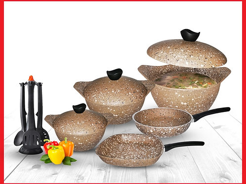 Granite - discovery Cooking Set - 8 Pcs - Biege  طقم حلل جرانيت ديسكفري